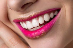 beautiful teeth of smiling woman
